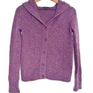 THEORY Purple Wool Mohair Angora Hooded Button Up Knit Sweater Jacket Small